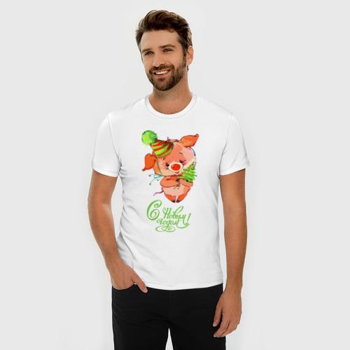 Мужская футболка премиум  Фото 03, Свинка с ёлкой