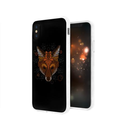 Чехол для Apple iPhone X силиконовый глянцевый Лиса из Листьев Фото 01