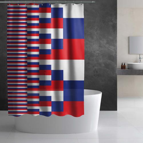 Штора 3D для ванной Флаг России Фото 01