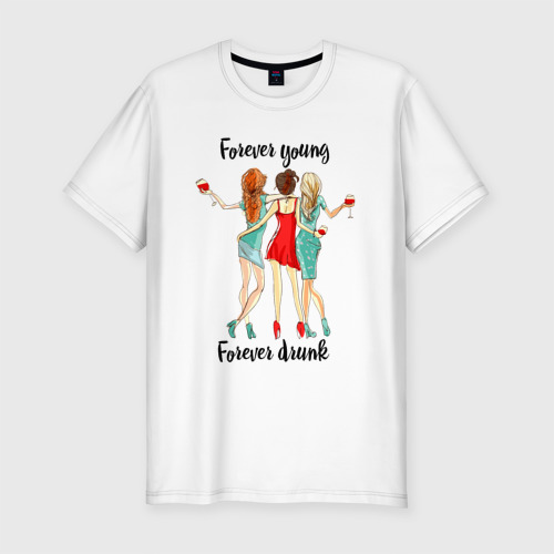 Мужская футболка премиум  Фото 01, forever young forever drunk