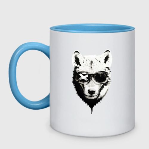 Кружка двухцветная wolf with glasses Фото 01