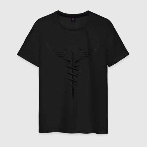 Мужская футболка хлопок Кадуцей Black Фото 01