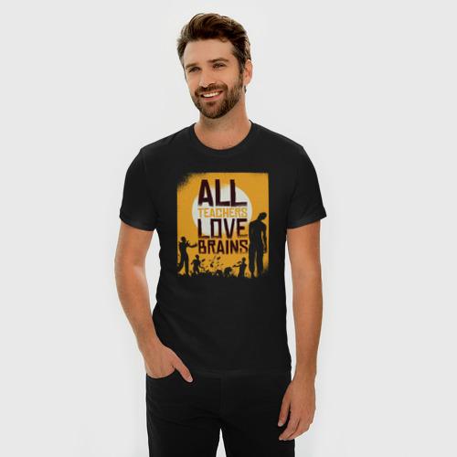 Мужская футболка премиум  Фото 03, Все учителя любят мозги