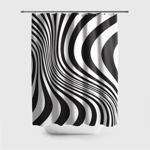 Штора 3D для ванной 3D принт зебра Фото 01
