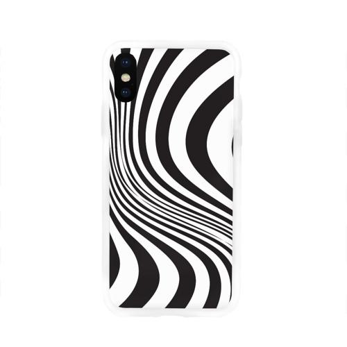 Чехол для iPhone X глянцевый 3D принт зебра Фото 01