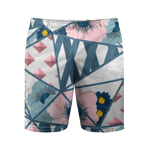 Мужские шорты 3D спортивные  Фото 01, Геометрия цветов