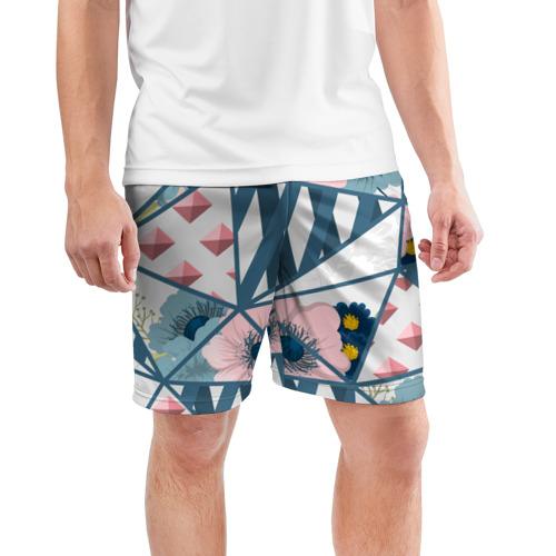 Мужские шорты 3D спортивные  Фото 03, Геометрия цветов