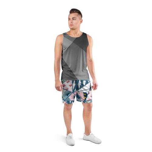 Мужские шорты 3D спортивные  Фото 04, Геометрия цветов