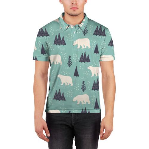 Мужская рубашка поло 3D  Фото 03, Медвежонок умка
