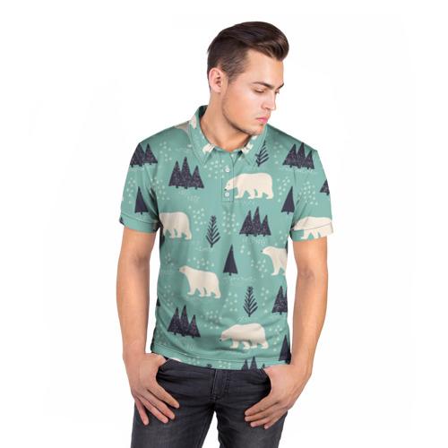 Мужская рубашка поло 3D  Фото 05, Медвежонок умка