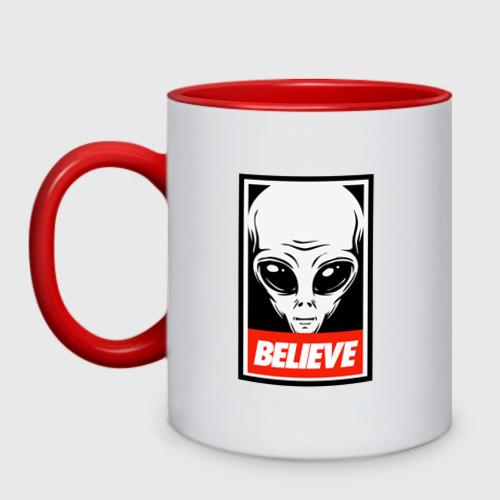 Кружка двухцветная I want To Believe UFO - Obey