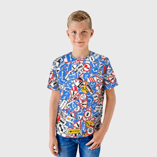 Детская футболка 3D Дорожные знаки. Стикербомбинг  Фото 01