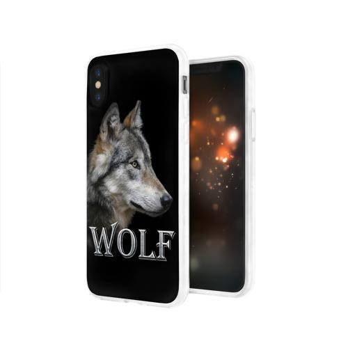 Чехол для iPhone X глянцевый Wolf  Фото 01