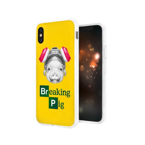 Чехол для Apple iPhone X силиконовый глянцевый  Фото 03, Breaking Pig