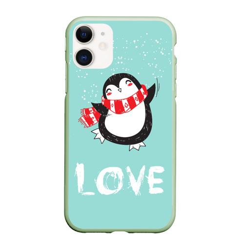 Чехол для iPhone 11 матовый Пингвин LOVE Фото 01
