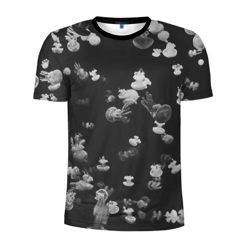 Мужская футболка 3D спортивная Медузы ЧБ Фото 01