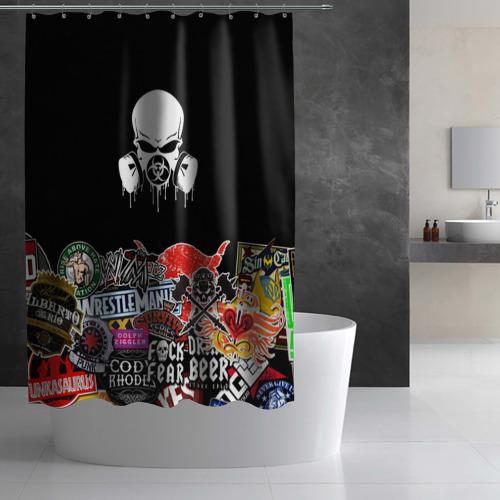 Штора 3D для ванной sticker bombing Фото 01