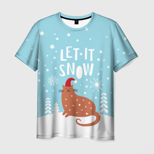 Мужская футболка 3D  Фото 03, Новогодний котик