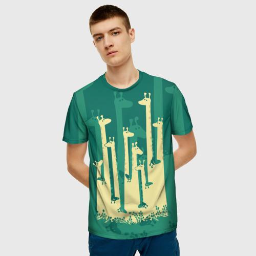 Мужская футболка 3D Жирафы Фото 01