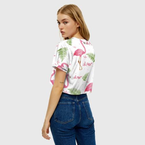 Женская футболка Crop-top 3D Lil Peep pink flamingo Фото 01