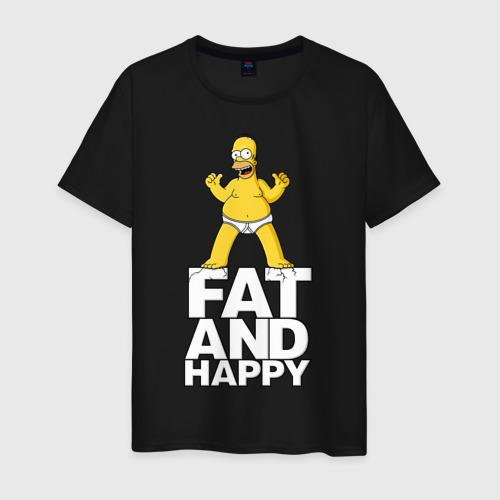Мужская футболка хлопок  Фото 01, Толстый и счастливый. Симпсон