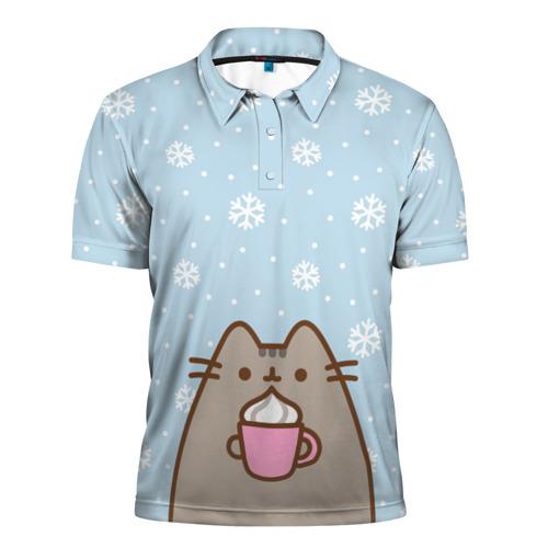 Мужская рубашка поло 3D Pusheen Xmas