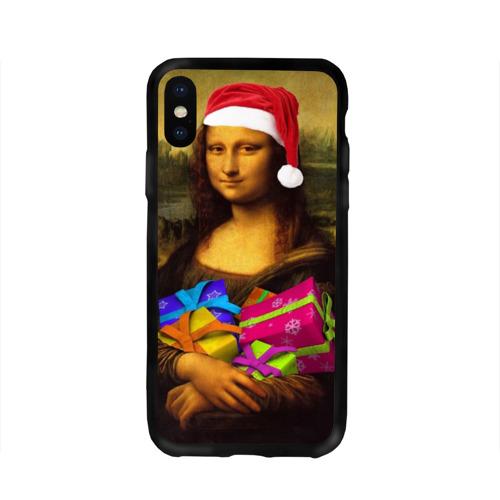 Чехол для Apple iPhone X силиконовый глянцевый  Фото 01, Новогодняя Мона Лиза Чехол