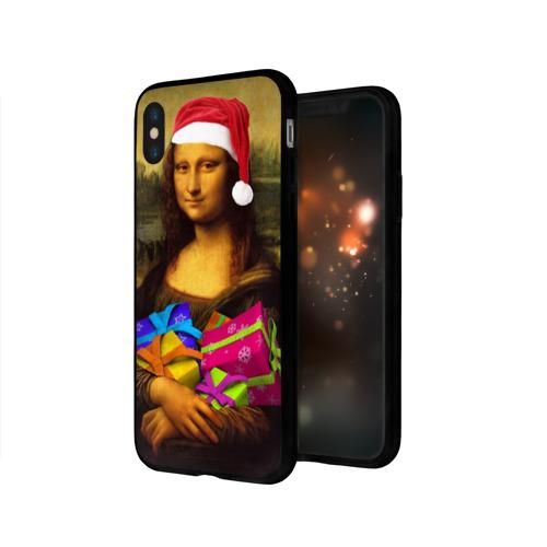 Чехол для Apple iPhone X силиконовый глянцевый  Фото 03, Новогодняя Мона Лиза Чехол