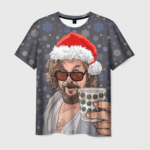 Мужская футболка 3D Лебовски Санта