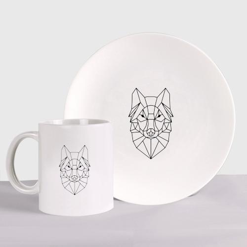 Набор: тарелка + кружка Полигональный волк Фото 01