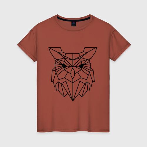 Женская футболка хлопок Полигональная сова Фото 01