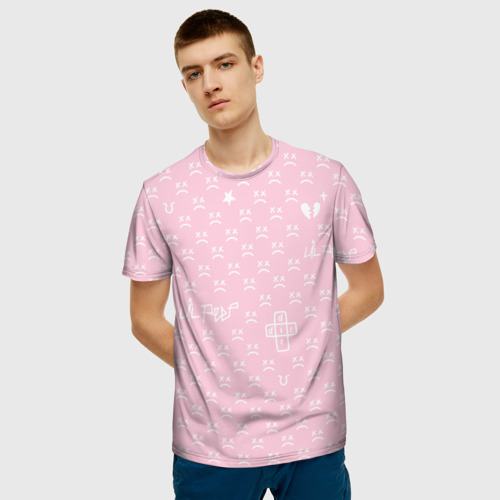 Мужская футболка 3D Lil Peep pink pattern Фото 01
