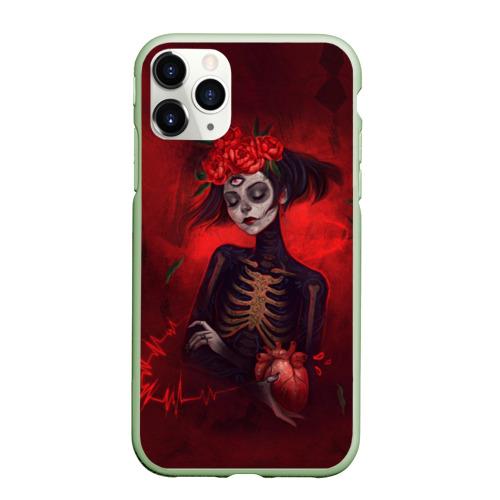 Чехол для iPhone 11 Pro Max матовый Девушка с сердцем Фото 01