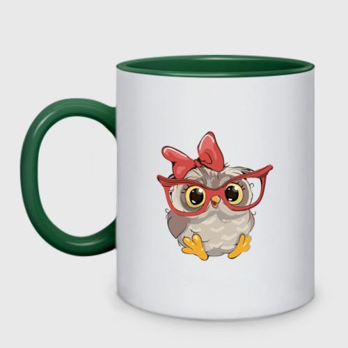 Кружка двухцветная Милая совушка в очках Фото 01