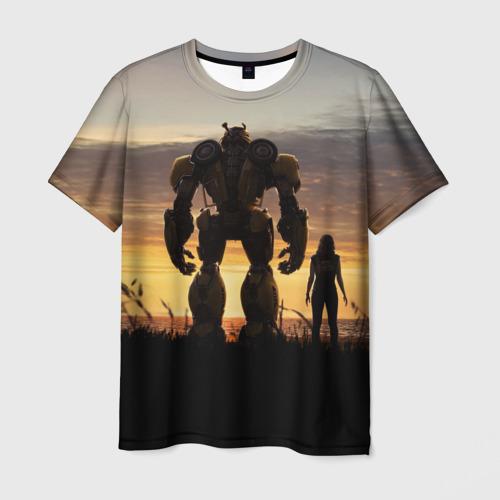 Мужская футболка 3D Бамблби и Чарли на закате