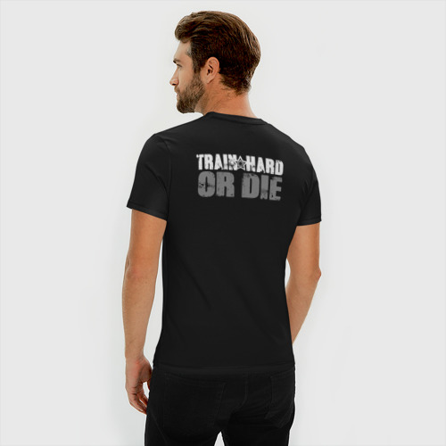 Мужская футболка хлопок Slim Train hard or die Фото 01