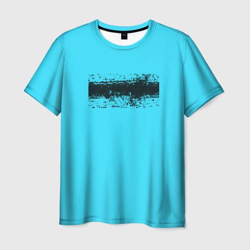 Мужская футболка 3D Гранж голубой