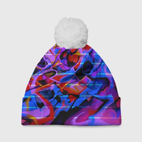 Шапка 3D c помпоном Неоновое граффити
