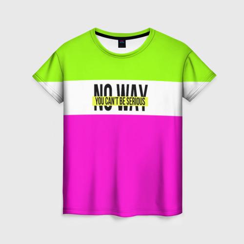 Женская футболка 3D Serious зелено-розовый Фото 01