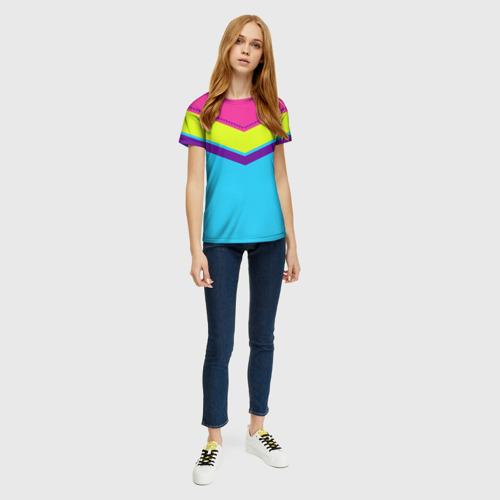 Женская футболка 3D Цветные треугольники_голубой Фото 01