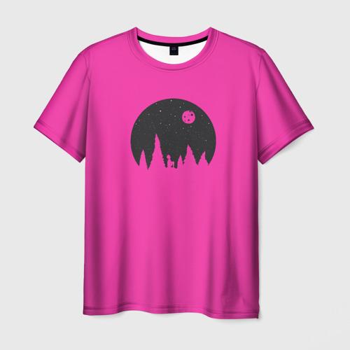 Мужская футболка 3D Розовая луна