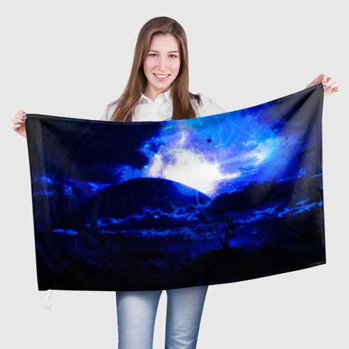 Флаг 3D Космический закат Фото 01
