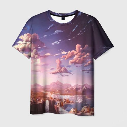 Мужская футболка 3D Фантастический закат