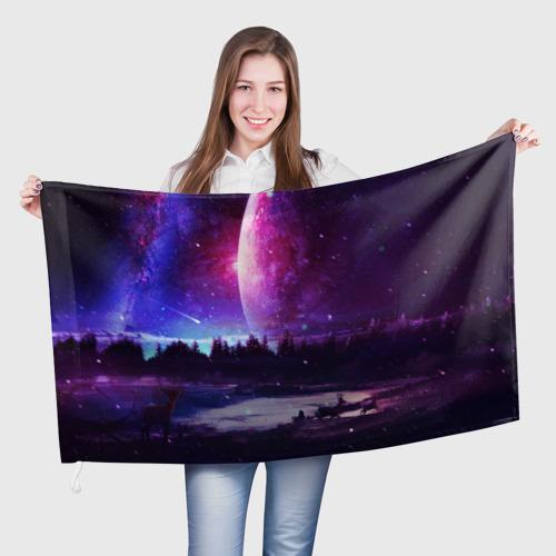 Флаг 3D Северный закат Фото 01