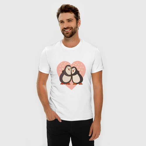 Мужская футболка премиум  Фото 03, Влюбленные пингвинчики