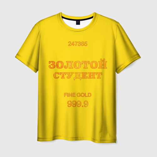 Мужская футболка 3D Золотой Студент