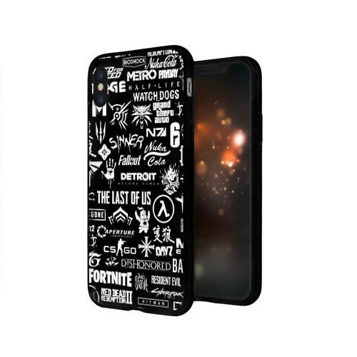Чехол для Apple iPhone X силиконовый глянцевый ЛОГОТИПЫ ИГР  Фото 01