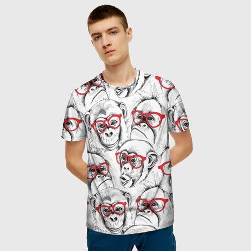 Мужская футболка 3D Обезьяны Фото 01