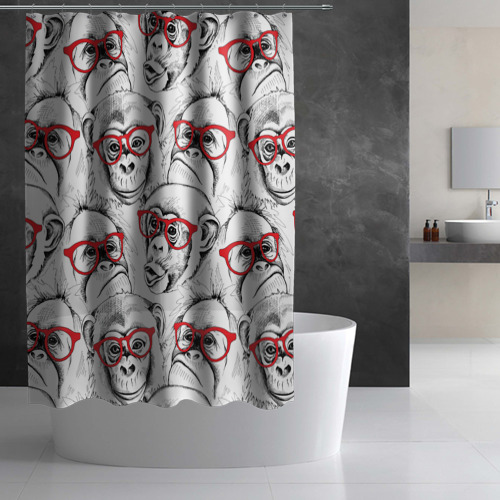 Штора 3D для ванной Обезьяны Фото 01
