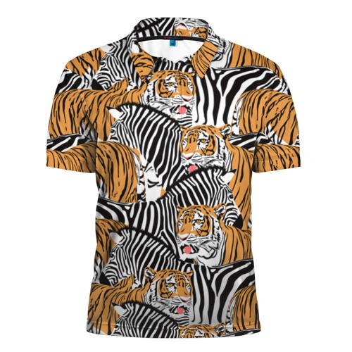 Мужская рубашка поло 3D  Фото 01, Тигры и зебры